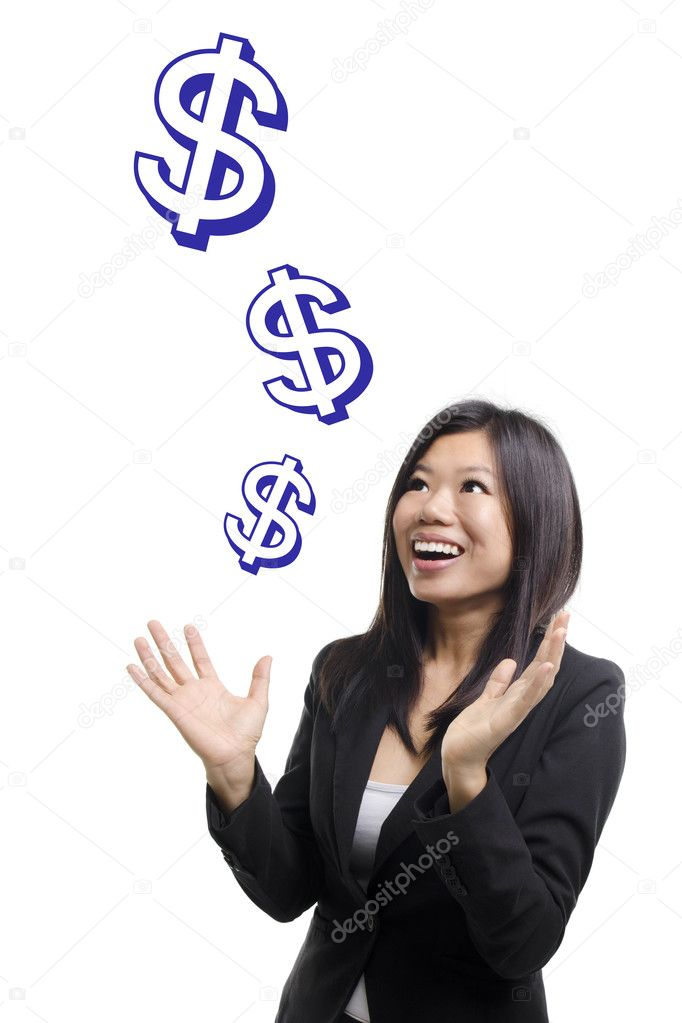 Money sign falling from sky. Investment concept. — Stock Photo #8341492