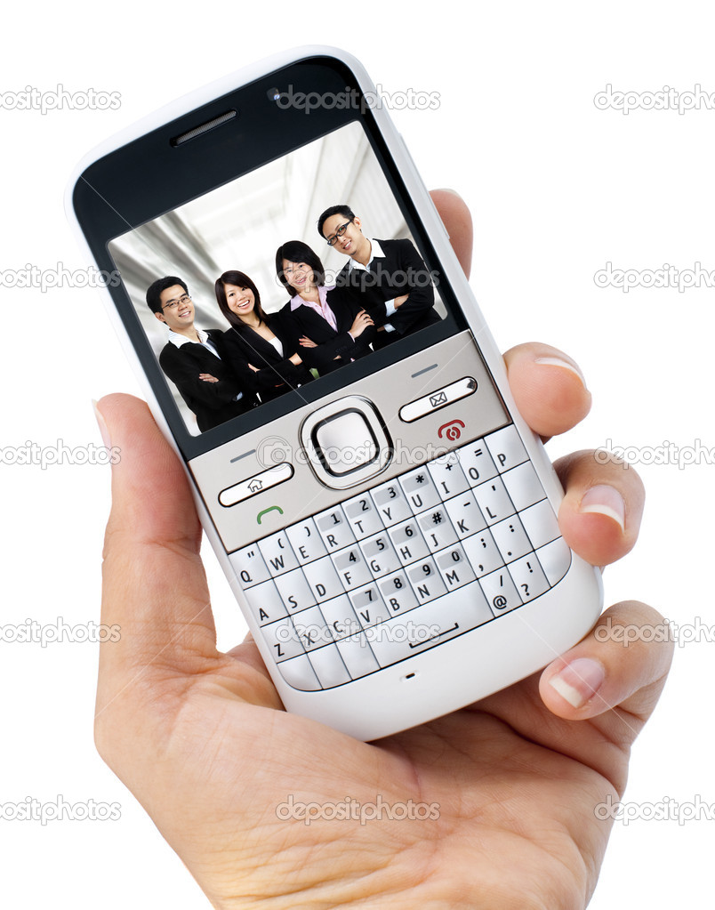 Business mobile phone on hand. Image on screen belongs to me. — Stock Photo #9235077