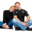 Beautiful couple in love sitting in the lotus position — Stock Photo