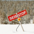 Stop - avalanche danger on the slope — Stock Photo