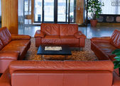 Lobby with leather sofas — 图库照片
