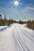 Empty trails for cross-country skiing — Stockfoto