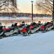 Vehicles are a number of snowmobiles — Stock Photo