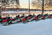 Vehicles are a number of snowmobiles — Foto de Stock