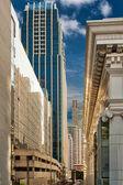 Street metropolis of skyscrapers — Stock Photo