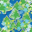 Starry night in Christmas forest, seamless pattern — Stock Photo
