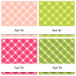 Four Scrapbook-style retro rectangular plaid cards — Stock Photo