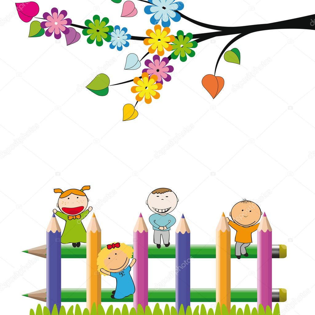 Small and happy kids on colorful fence — Stock Vector #10473246