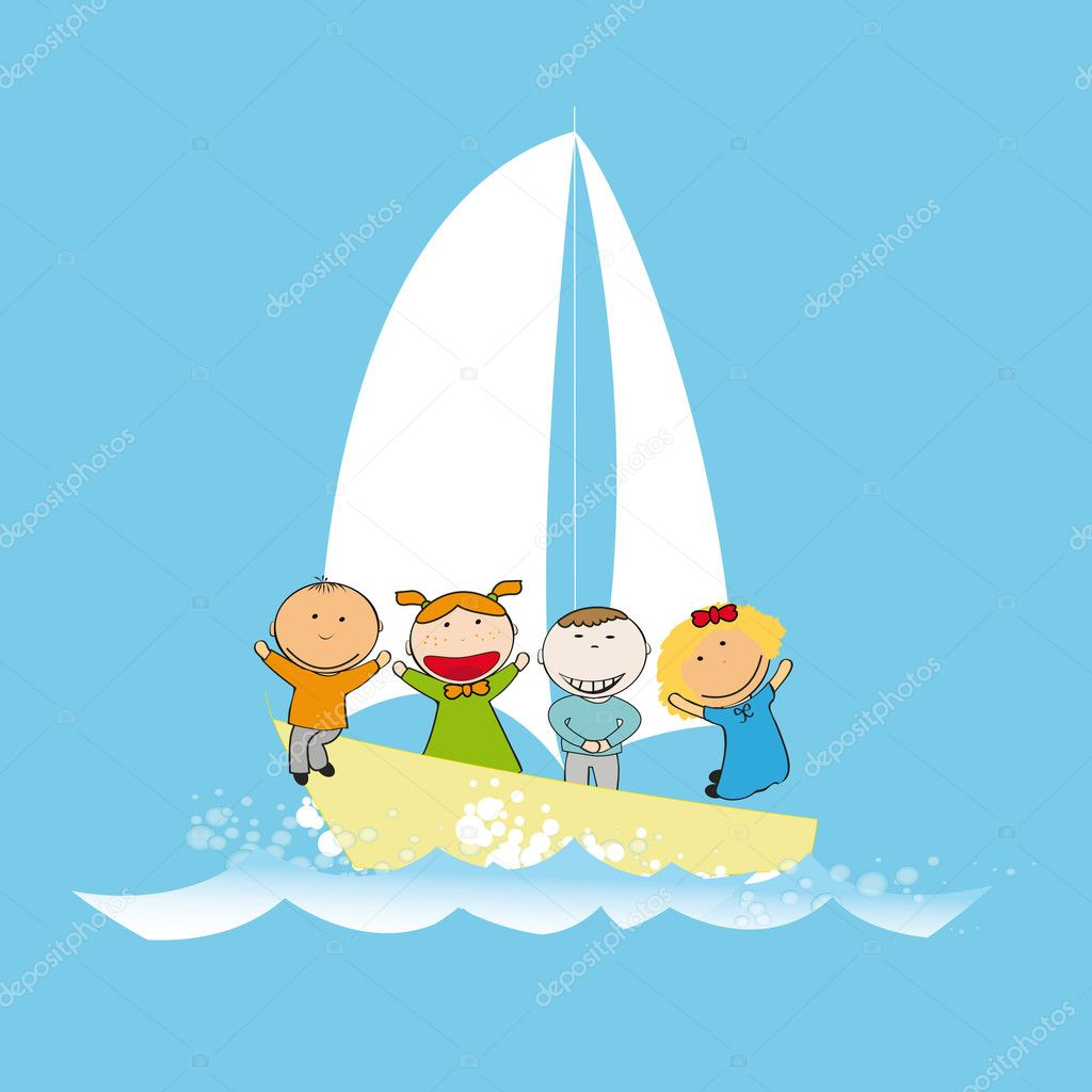Small and happy kids  on small boat — Stock Vector #10473276