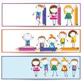 孩子们横幅 — 图库矢量图片