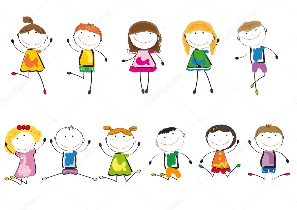Small and smile kids playing and dancing — Stock Vector #9236420