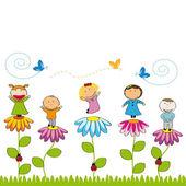 Happy kids in garden — Stock Vector