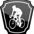 Bicyclist on emblem - Stock Vector