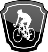 Bicyclist on emblem — Stock Vector