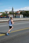 Man runs in 25th Belgrade Marathon on April 22, 2012 in Belgrade, Serbia — Foto Stock