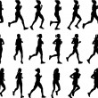 Vector de stock : Female marathon runners silhouettes