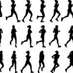 Female marathon runners silhouettes — Stock Vector