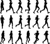 Kvinnliga marathon löpare silhuetter — Stockvektor