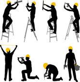 Lavoratori edili — Vettoriale Stock