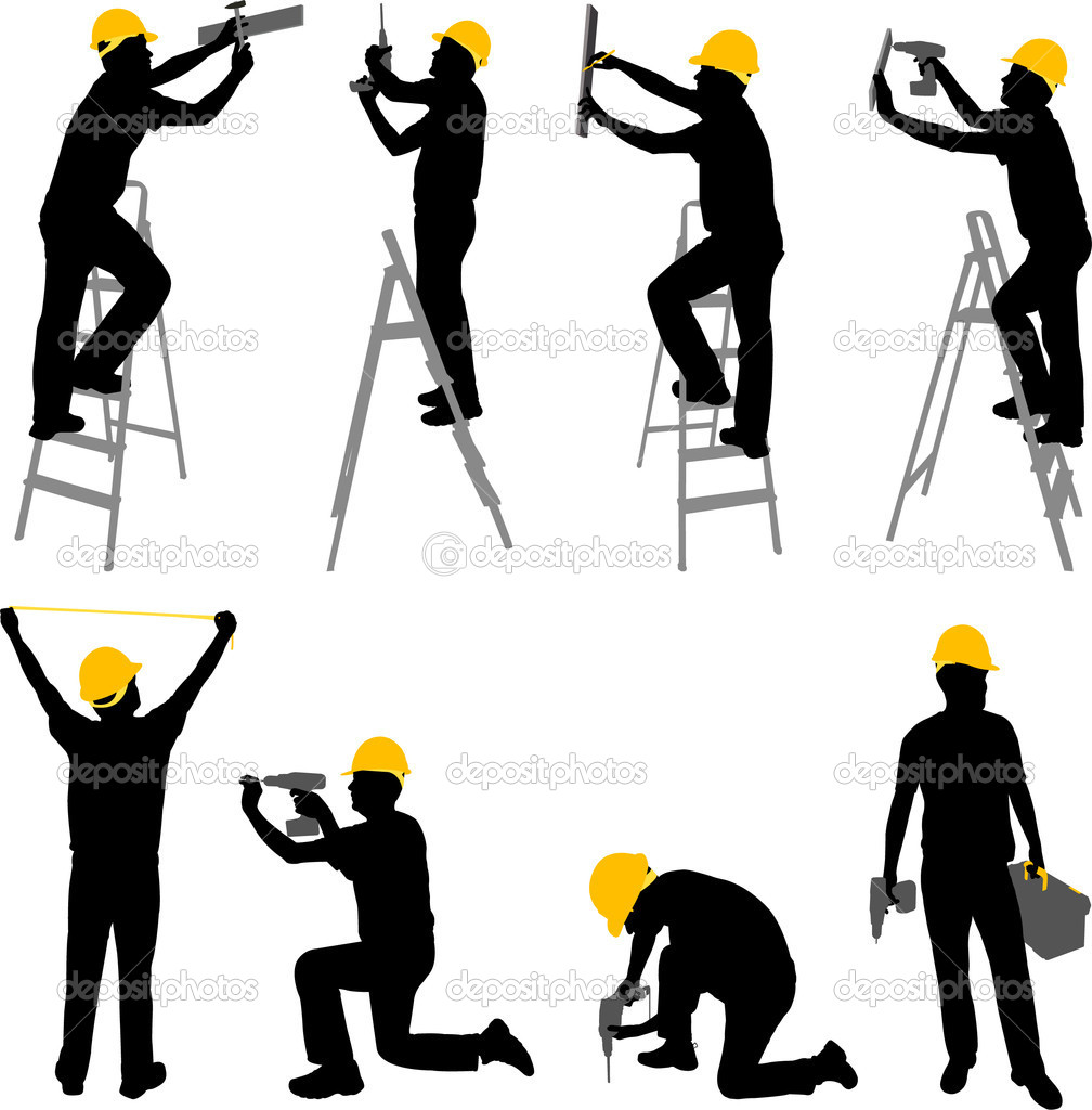 Construction workers silhouettes - vector  Stock Vector #8059820