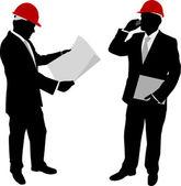 Empresarios con casco — Vector de stock