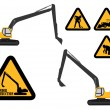"Excavator and ""under construction"" signs — Grafika wektorowa"