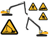 """Excavator and """"under construction"""" signs — Stock Vector"""