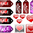 Sale labels, Valentines day — Imagen vectorial