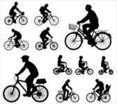 Bicyclists silhouettes — Vector de stock