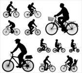 Silhouettes de cyclistes — Vecteur
