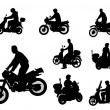 Motrocyclists silhouettes - Stock Vector