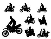 Siluetas motrocyclists — Vector de stock