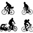 Bicyclists silhouettes — Vettoriali Stock