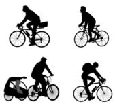 Bicyclists silhouettes — Vettoriale Stock