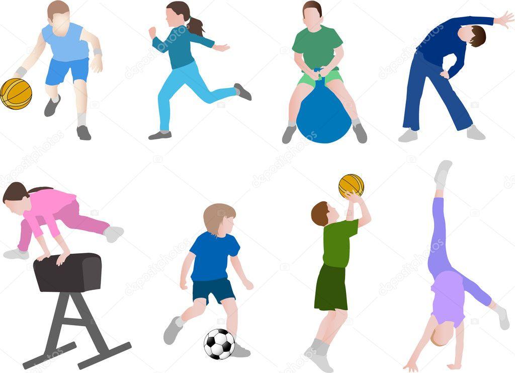 儿童体育插画-矢量