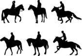 Horsemen silhouettes — Stock Vector