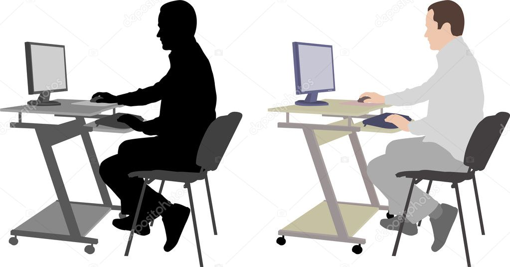 - Man sitting in front of computer — Stock Illustration #9255256