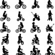 Children riding bicycles - Image vectorielle
