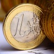 Extremely close up view of European currency — Stock Photo #10055090
