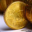 Extremely close up view of European currency — Stock Photo #10055237