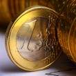 Extremely close up view of European currency — Stock Photo