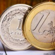 Extremely close up view of European and Poland currency — Stock Photo