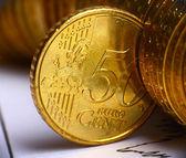 чрезвычайно крупным планом зрения европейской валюты — Стоковое фото
