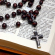 Christian Holy Bible with Crucifix on rosary — Stock Photo