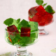 Delicious sweet jelly dessert in elegant goblet - Stock Photo