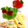 Delicious sweet jelly dessert in elegant goblet — Stock Photo