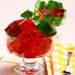 Delicious sweet jelly dessert in elegant goblet — Stock Photo #10410846