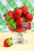 Delicious strawberry dessert in elegant goblet — Stock Photo