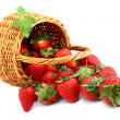 Delicious strawberries in basket isolated on white — Stock Photo #10538752