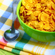 Delicious breakfast corn flakes - Stock Photo